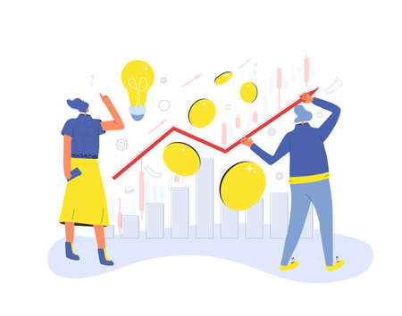 Financial advisor and analyst. Minor shareholders. Woman have a investment idea and man readin a report. People with huge coins, graph. Vector illustration.