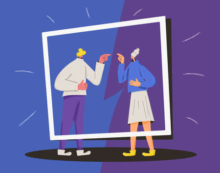 Conflict. Pair of people during argument. Quarrel concept. Bad relationship between friends or family members. Vector flat color illustration. Иллюстрация