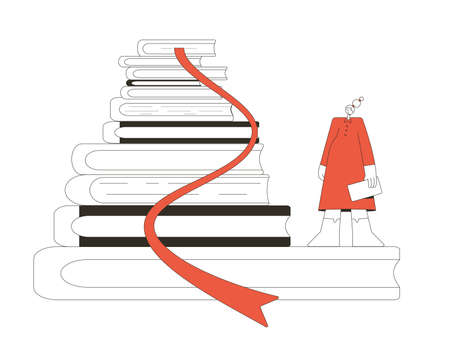 Book lovers for concept. Bookstore. Tiny female character with huge bunch of novels. Vector line art illustration. Çizim