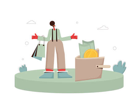 Woman with shopping bags and huge wallet standing in confusion. Female character in white medical mask abducts both arms. Vector flat illustration.