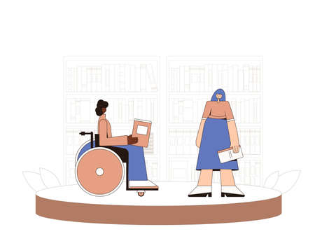Two woman with books speaking about reading. Female characters telling about literature. Person in wheelchair meeting with her friend in the library, bookstore or coworking space. Vector illustration. Ilustrace