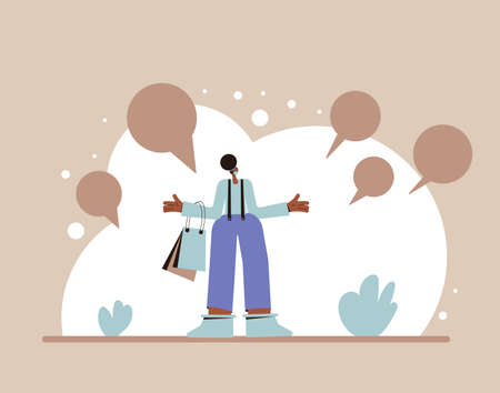 Woman with shopping bags standing in confusion. Female character in white medical mask with speech bubbles abducts both arms. Vector flat illustration. Ilustrace