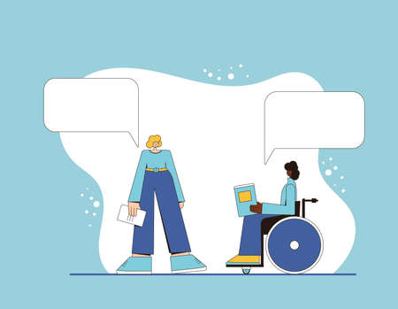Two young woman with books in their hands speaking about reading club. Female characters telling about literature. Person in wheelchair meeting with her friend. Vector line art illustration.