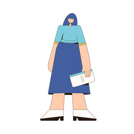 Young woman with book. Female character wearing in casual clothes standing isolated on a white background. Vector line art illustration.
