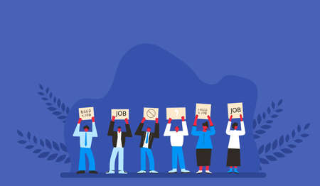 Job search. Dismissed people standing with banners. Activism. Vector flat illustration.