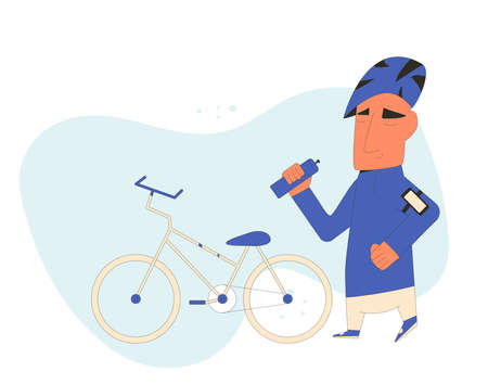 Cyclists and his bike isolated on white background. Cute sportsman. Cartoon character wearing in sportwear. Vector flat line art illustration.