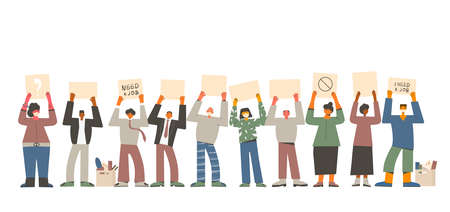 Job search. Dismissed people standing with banners isolated on white background. Activism. Vector flat illustration.