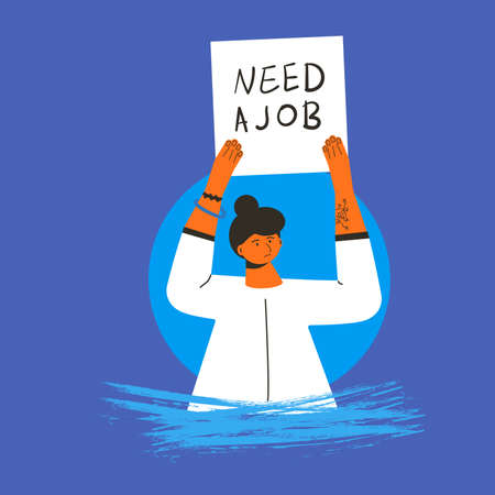 Woman with banner Need a job. Vector flat illustration.