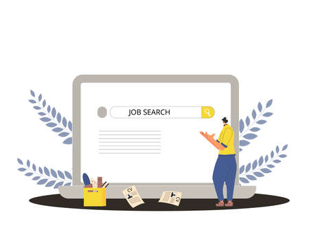 Job search. Dismissed worker try to find a work online. Fired man standing near huge laptop, he is confused and disapointed. Vector flat illustration.