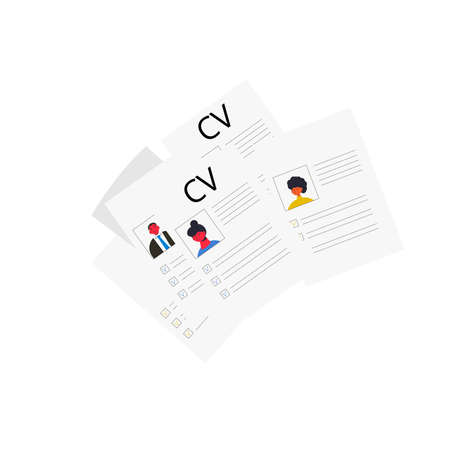 CV set isolated on white background. Resume group concept. Vector flat illustration. Ilustrace