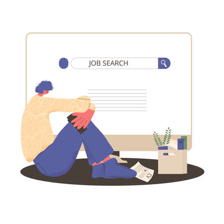 Unemployment. Dismissed worker try to find a job online. Fired man sitting near huge computer, he is confused and disappointed. Sad person thinking about life and money. Vector flat illustration.