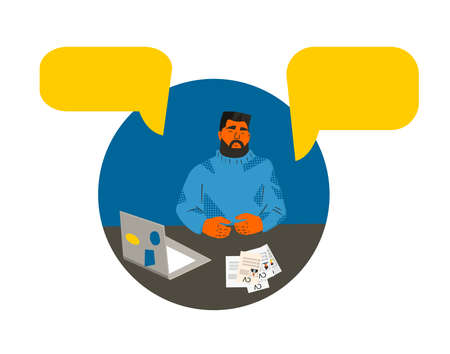Hr manager have online interview with candidats. Bearded man with laptop holding a distant conference. Recruitment service. Vector flat illustration. Çizim
