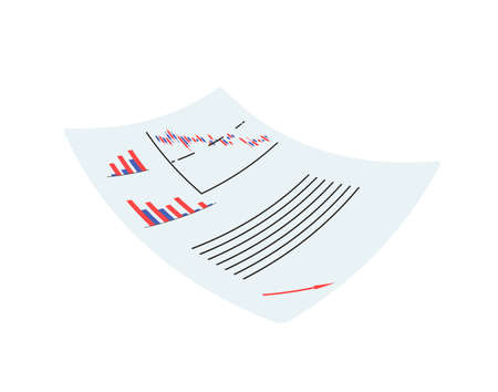 Paper with graphics, analitic data isolated on white background. Vector flat illustration. Çizim