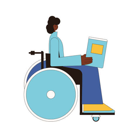 Person in wheelchair. Woman with books. Female characters isolated on a white background. Vector line art illustration. Ilustrace