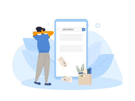 Unemployment. Dismissed worker try to find a work online. Fired woman standing near huge phone, she is confused and disappointed. Vector flat illustration.
