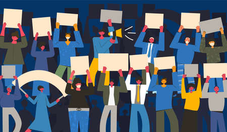 Strike. Coworkers standing with banners together. Activism. Vector flat illustration.