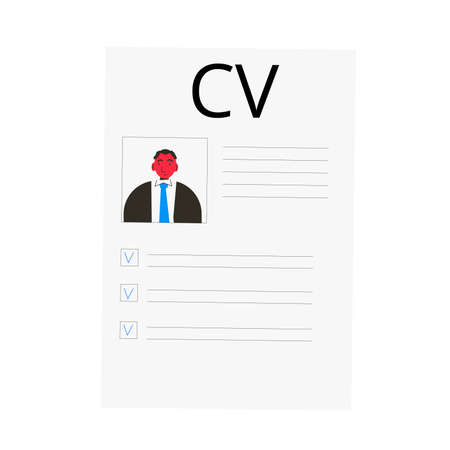 CV isolated on white background. Resume concept. Vector flat illustration.