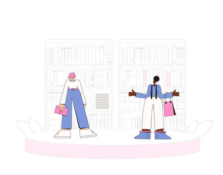 Two woman speaking about reading. Female characters telling about literature. Friends in the library, bookstore or coworking space. Vector line art illustration.