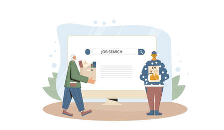 Job search. Dismissed senior man and young intern try to find a work online. Fired people standing near huge computer screen. Vector flat illustration. Ilustrace