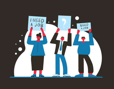 Unemployment. Job search. Dismissed people standing with banners isolated on white background. Activism. Vector flat illustration.