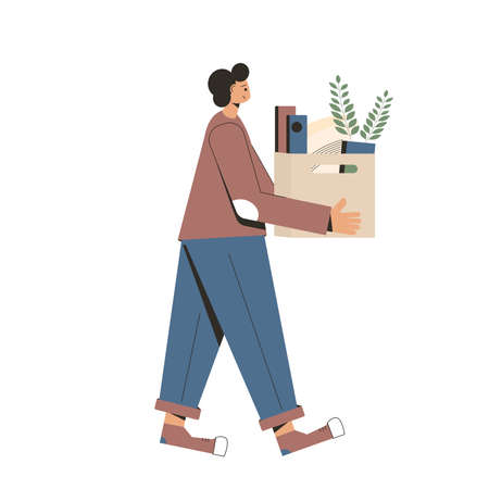 Unemployment. Man with cardboard box of stuff. Fired manager going from the office with his office supplies isolated on white background. Vector flat illustration.