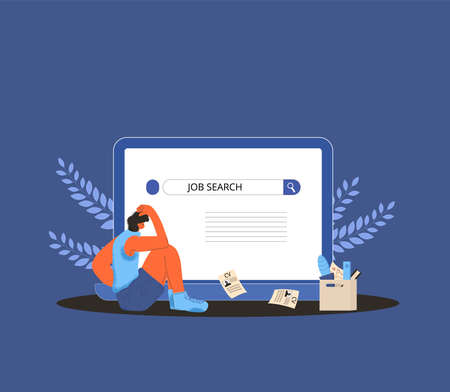 Unemployment. Dismissed worker try to find a job online. Fired man sitting near huge laptop, he is confused and disappointed. Sad person thinking about vacancy. Vector flat illustration.