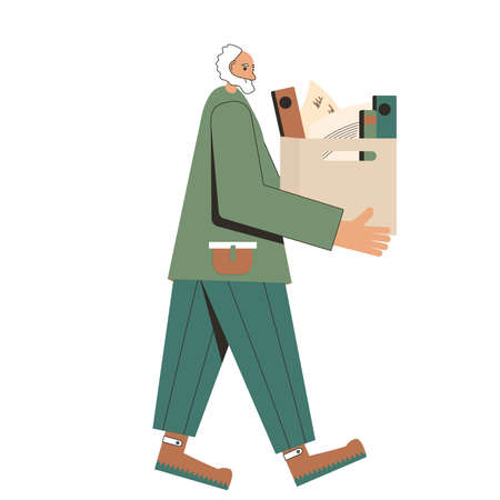 Unemployment. Retirement. Senior man with cardboard box of stuff. Fired worker going isolated on white background. Vector flat illustration.