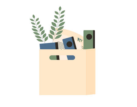 Cardboard box with stuff. Dismissal symbol. Vector flat illustration.