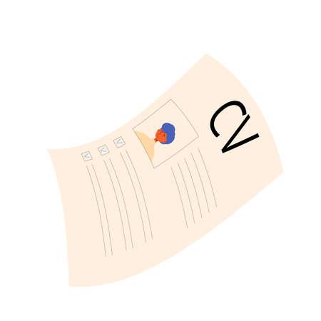 CV isolated on white background. Resume concept. Vector flat illustration.