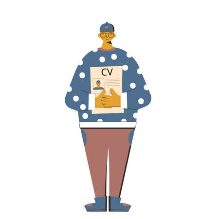 Man with resume. Fired manager standing wth his cv isolated on white background. Vector flat illustration.