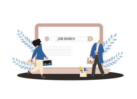 Job search. Two coworkers try to find a work online. Fired women standing near huge laptop. Vector flat illustration. Çizim