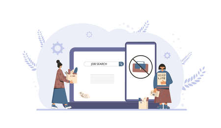 Unemployment. Job search. Two dismissed coworkers try to find a work online. Fired people standing near huge phone and laptop. Vector flat illustration.