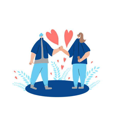 Couple of young people telling each other their love. Romantic relationship event. Valentines Day dating. Vector flat illustration. Ilustrace
