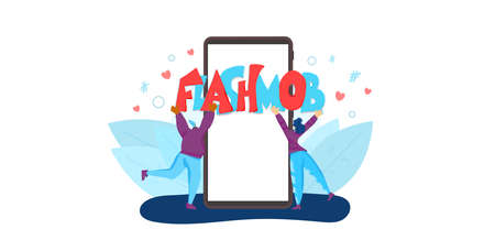 Flashmob concept. Tiny female persons holding a huge word. Social media challenge. Two girls with flash mob text. Vector flat illustration.