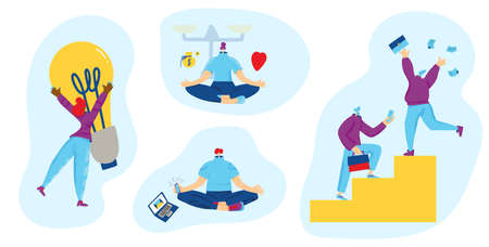 Work life balance scenes set. Characters with job symbols. Woman with hyge bulb, two colleagues climbing up career ladder, meditating person distracted by social media and mobile phone. Vector flat.