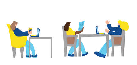Coworking concept. Young persons sitting in the chair and working. Attractive women team. Vector flat illustration.