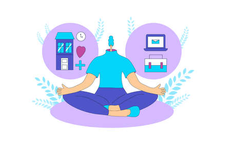 Balance in life concept. Young woman sitting in yoga lotus pose and thinking about fulfillment. Girl try to choose between work and home, carerr versus family, leisure or business. Vector illustration