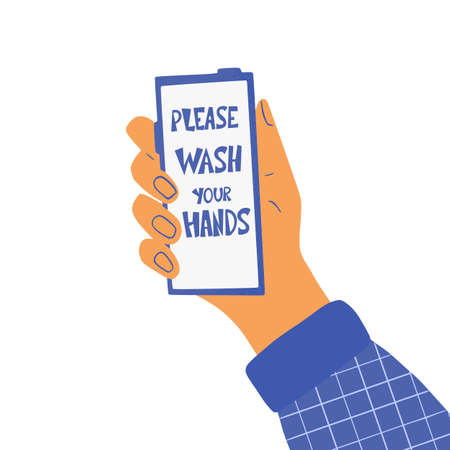 Please wash your hands hand drawn text on phone screen. Personal hygiene and disinfection notice. Vector illustration. Ilustrace