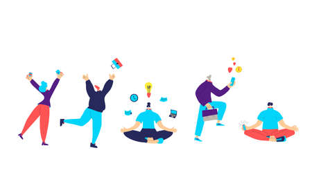 Work life balance characters group. Persons with job symbols isolated on white background. Millenial work life. Female and male people with business elements. Vector flat illustration.