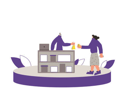 Small retail business concept. Corner shop. Female person buying a gift for friend and going to pay with credit card. Sale concept. Bearded mature man selling some goods. Vector flat illustration.