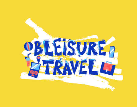 Bleisure travel quote emblem. Combining business travel and leisure time phrase. Work life balance. Vector flat illustration. Ilustrace