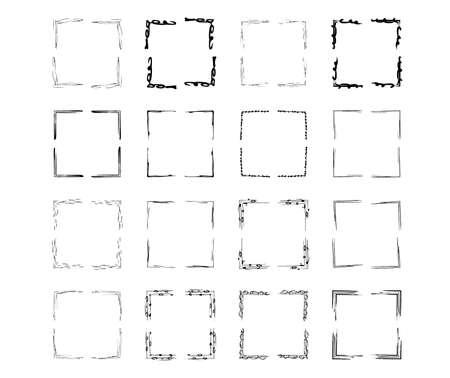 Set of black square grunge frames. Geometric empty borders collection. Vector illustration. Ilustrace