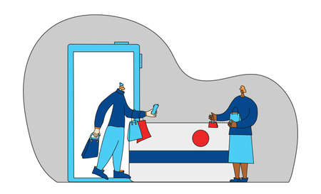 Online store. Two characters with shopping bag. Tiny people with huge mobile phone and credit card scene. Sale concept. Saleswoman and her client. Vector illustration.