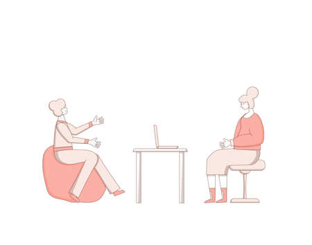 Psychological help. Counseling concept. Therapy session with stressed patient. Psychiatrist and client talking about feeling. Couch listening sad man. Vecotor flat illustration. Ilustrace