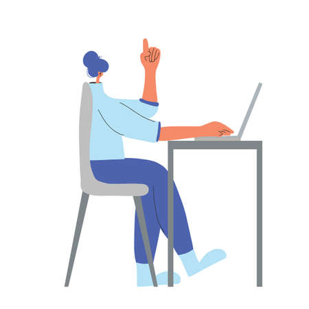 Idea. Character working on computer. Female person using laptop. Young woman sitting on chair and thinking about job. Vector flat color illustration. Ilustrace