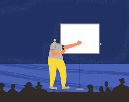 Young woman performing on a stage. Business conference. Presentation. Vector flat characters illustration.