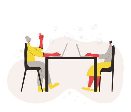 Two young women working on computer. Coworkers sitting at the meeting and talk about curent project. Characters working on laptop. Vector flat color illustration.