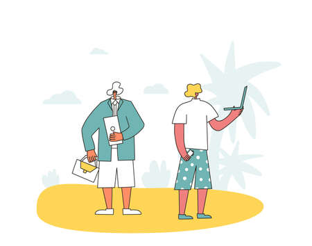 Bleisure concept. Work life balance. Digital nomads. Vector flat persons dressed in shorts and t-shirts with laptops on vacation.