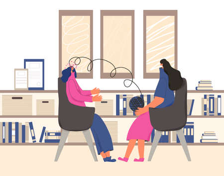 Counseling therapy.Psychologist having session with her patient. Female character try to help teenage girl with some mental issues. Young woman talking to therapist. Vector flat cartoon illustration. Ilustrace