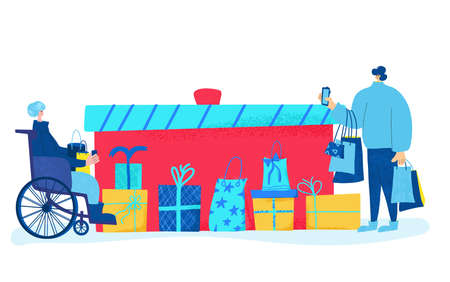 Two tiny characters with huge gift bags. holiday sale concept. Man standing wiht shopping bags and phone and woman in wheelchair with credit card. Vector color flat illustration. Ilustrace